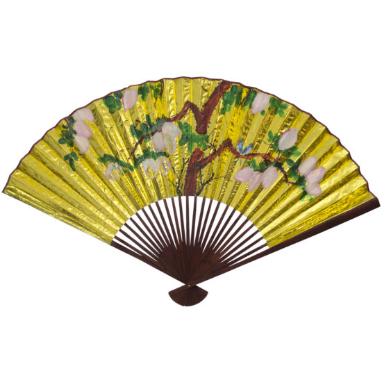 Oriental Furniture Golden Wall Fan #4 Scenic + Landscape Print