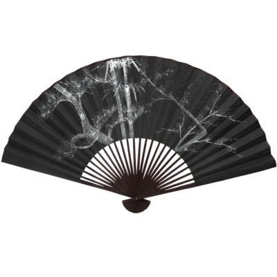 Oriental Furniture White Tree Wall Fan #5 Trees + Leaves Print
