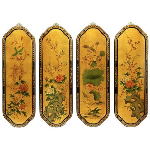Oriental Furniture Golden Birds & Flowers Curved Print
