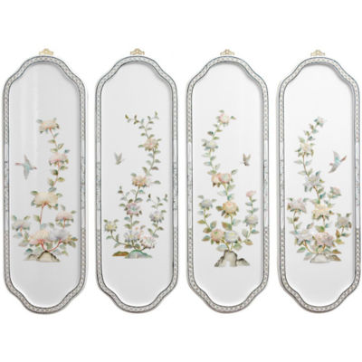 Oriental Furniture Birds And Flowers Curved Floral Print