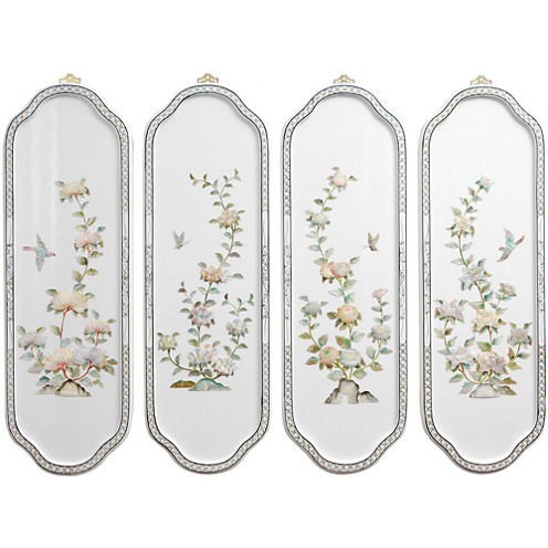Oriental Furniture Birds And Flowers Curved Print