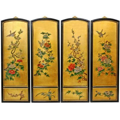 Oriental Furniture Golden Birds And Flowers Floral Print