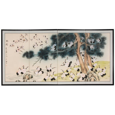 Oriental Furniture Hundred Cranes Animals + Insects Print