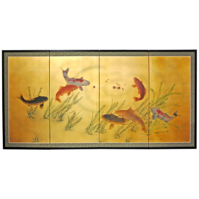 Oriental Furniture Gold Leaf Seven Lucky Fish Trees + Leaves Print
