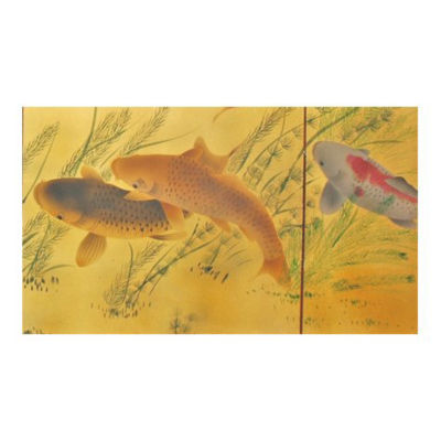 Oriental Furniture Gold Leaf Seven Lucky Fish Print