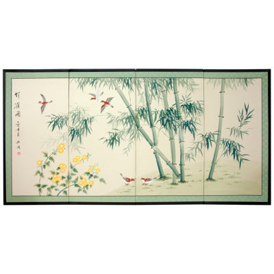 Oriental Furniture Bamboo And Five Birds Scenic + Landscape Print
