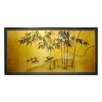 Oriental Furniture Gold Leaf Bamboo Floral Print