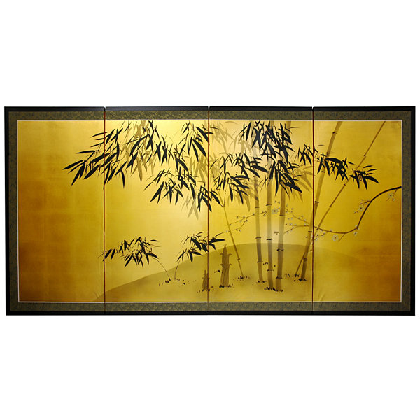 Oriental Furniture Gold Leaf Bamboo Floral Print