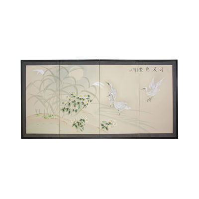 Oriental Furniture Cranes In Full Moon Print