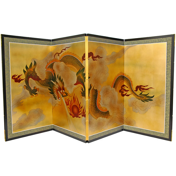 Oriental Furniture Dragon In The Sky On Gold Leaf Print