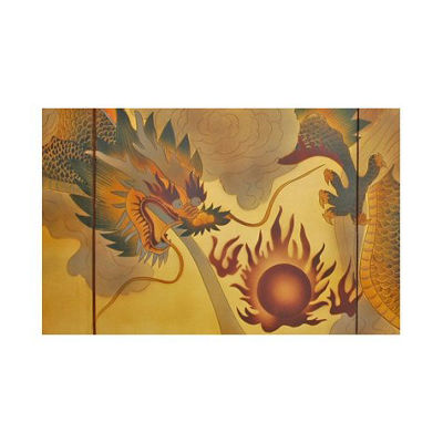 Oriental Furniture Dragon In The Sky On Gold Leaf Animals + Insects Print