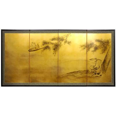 Oriental Furniture Gold Leaf Fishing For Life Print