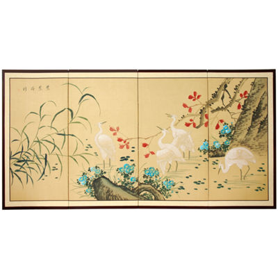 Oriental Furniture Geese In The Water Animals + Insects Wall Sculpture