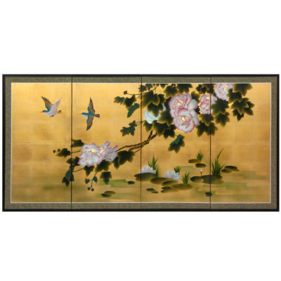 Oriental Furniture Lilly Pad Pond On Gold Leaf Wall Sculpture