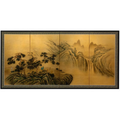 Oriental Furniture Mountaintop Waterfall On Gold Leaf Scenic + Landscape Wall Sculpture