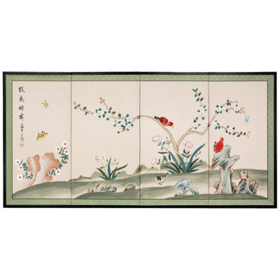 Oriental Furniture Red Birds Courting Animals + Insects Wall Sculpture
