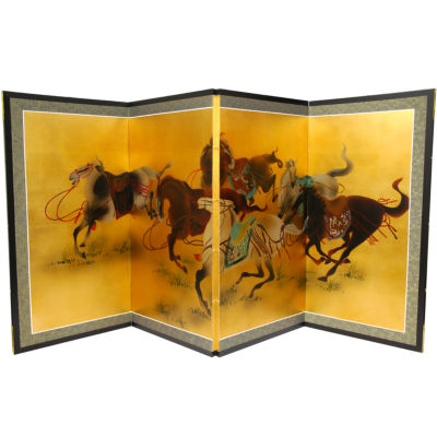 Oriental Furniture Riders In The Storm On Gold Leaf Wall Sculpture