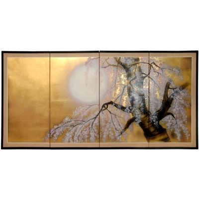 Oriental Furniture Gold Leaf Sakura Blossom Scenic + Landscape Wall Sculpture