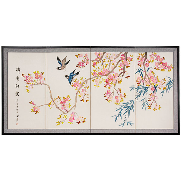 Oriental Furniture Shing Huo Blossom Wall Sculpture