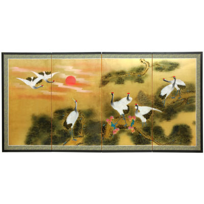 Oriental Furniture Gold Leaf Sunset Cranes Trees + Leaves Wall Sculpture