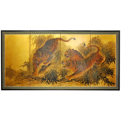 Oriental Furniture Gold Leaf Tigers On The Move Wall Sculpture