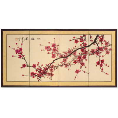 Oriental Furniture Plum Tree Chinese Painting Wall Sign