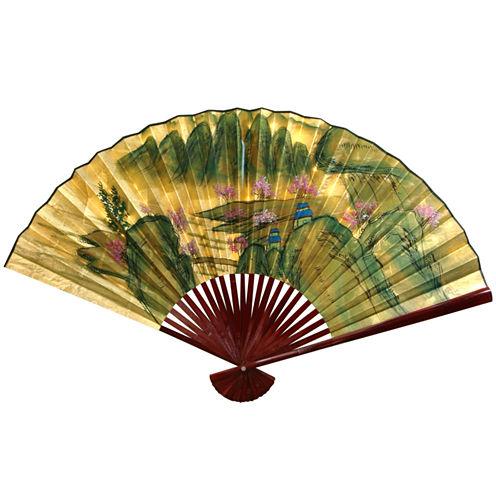Oriental Furniture Gold Leaf Mountain Landscape Fan Wall Sign