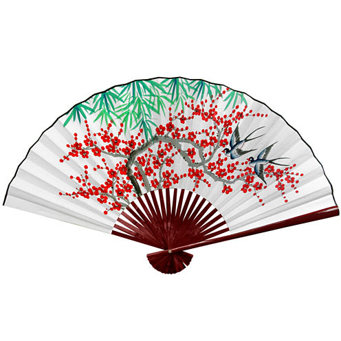 Oriental Furniture White Cherry Blossom Fan Wall Sign
