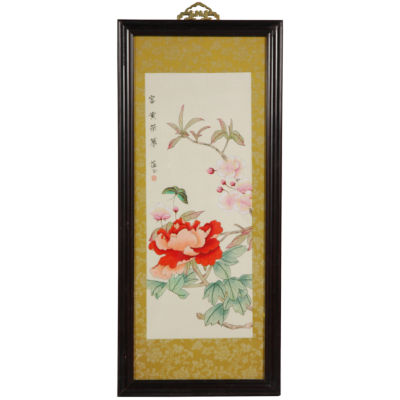Oriental Furniture Butterfly And Flowers Canvas Art