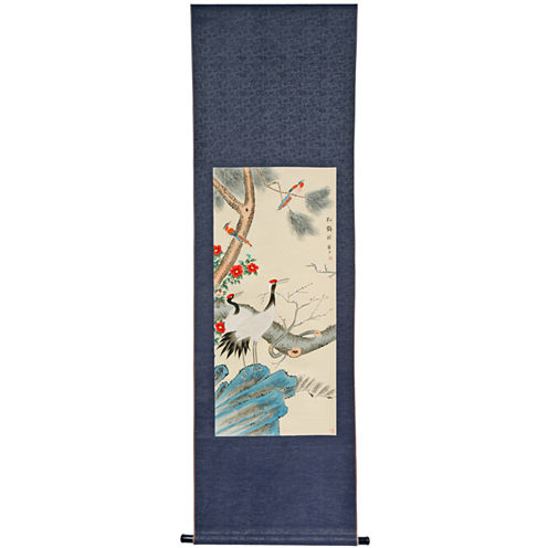 Oriental Furniture Pine Tree And Crane Canvas Art