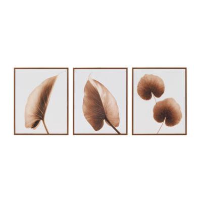Madison Park Alocasia Leaves Taupe 3-pc. Canvas Art