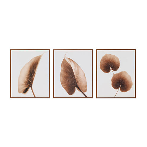Madison Park Alocasia Leaves Taupe 3-pc. Canvas Art
