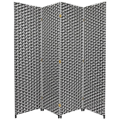Oriental Furniture 6' Woven Fiber 4 Panel Room Divider