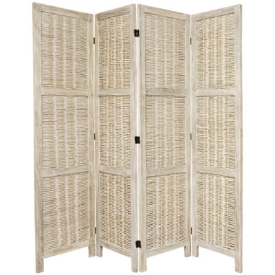 Oriental Furniture 4' Bamboo Matchstick Woven 4 Panel Room Divider