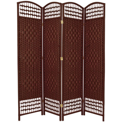 Oriental Furniture 5.5' Fiber Weave 4 Panel Room Divider