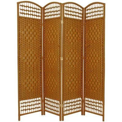 Oriental Furniture 5.5' Fiber Weave 4 Panel Room Divider