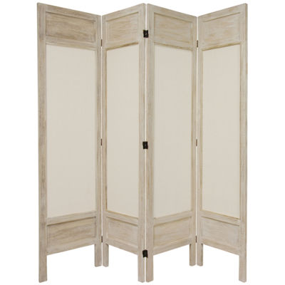 Oriental Furniture 5.5' Frame Fabric 4 Panel RoomDivider