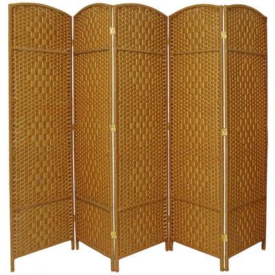 Oriental Furniture 6' Diamond Weave Fiber 5 PanelRoom Divider
