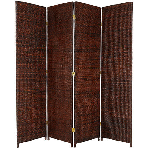 Oriental Furniture 6' Rush Grass Woven 4 Panel Room Divider