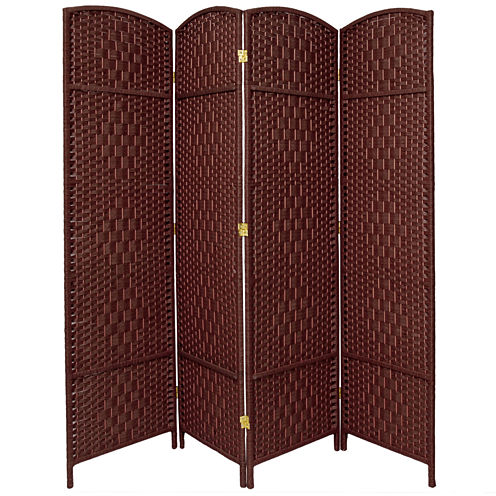 Oriental Furniture 7' Diamond Weave 4 Panel Room Divider