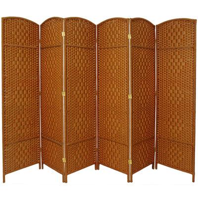 Oriental Furniture 7' Diamond Weave 6 Panel Room Divider