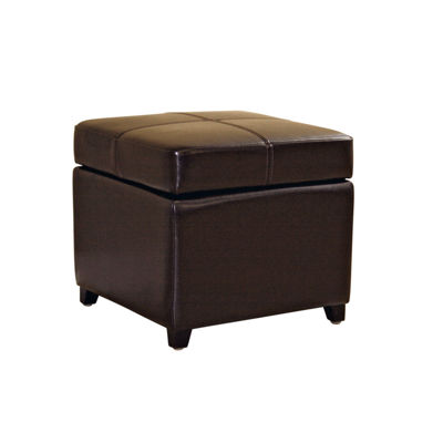 Baxton Studio Leather Cube Ottoman