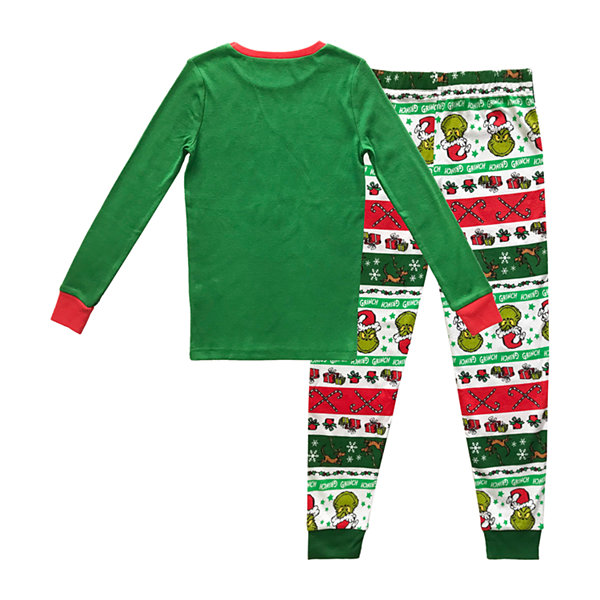 Dr. Seuss Grinch Holiday Family Kids Little & Big Unisex 2-pc. Grinch Christmas Pajama Set