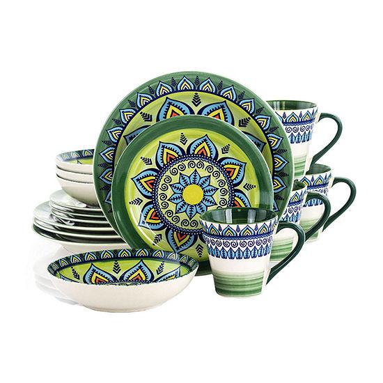 Elama Zen Green Mozaik 16-pc. Dinnerware Set