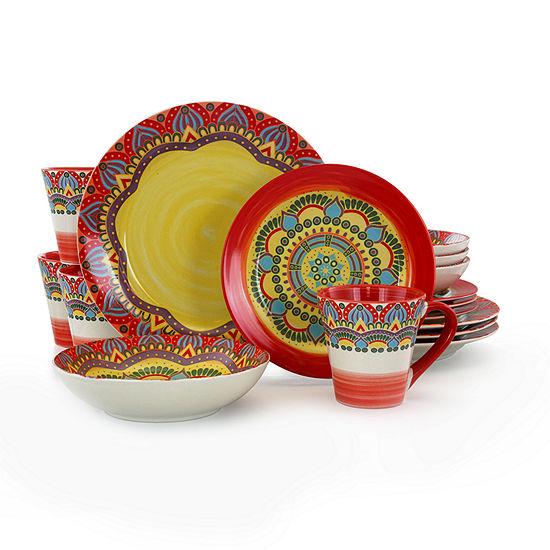 Elama Zen Red Mozaik 16-pc. Dinnerware Set