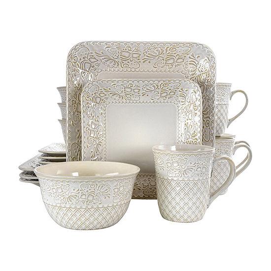 Elama Ivory Lotus 16-pc. Dinnerware Set