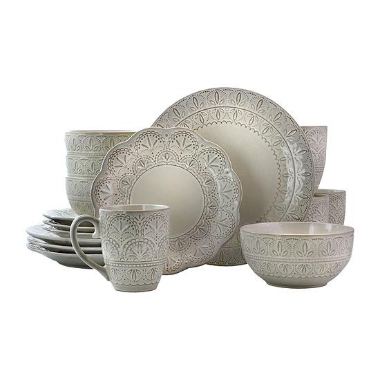 Elama White Lace 16-pc. Dinnerware Set