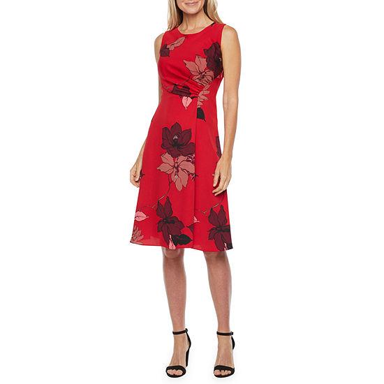 Liz Claiborne Sleeveless Floral Midi A-Line Dress