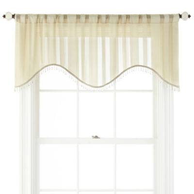 Royal Velvet® Cherise Rod-Pocket Sheer Scalloped Valance