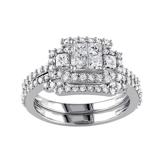 1 1/5 CT. T.W. Diamond 14K White Gold Bridal Ring Set